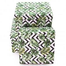 Набор коробок, Зигзаги и листья, 17*17*9 см, 3 шт.