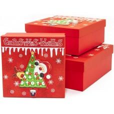 Набор коробок Дед Мороз и елочка, Красный, Металлик, 28*28*11 см, 3 шт.