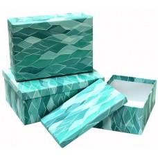 Набор коробок, Геометрия волн, Бирюзовый, 23*16*9 см, 3 шт.
