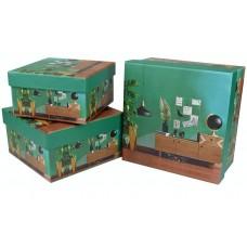 Набор коробок Интерьер с глобусом, Зеленый, 17*17*9 см, 3 шт.