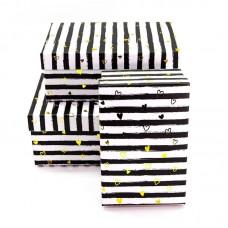 Набор коробок, Золотые сердца и полосы, Черный/Белый, 23*16*10 см, 3 шт.