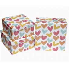 Набор коробок Граффити сердец, 19*19*9 см, 3 шт.