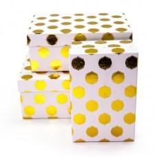 Набор коробок, Золотые точки, Белый, 23*16*10 см, 3 шт.