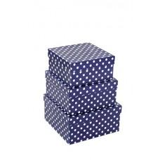 Набор коробок, Белые точки, Синий, 20*20*10 см, 3 шт.