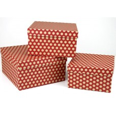 Набор коробок, Бежевые точки, Красный, 19*19*11 см, 3 шт.