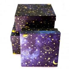 Набор коробок, Звездное небо, Темно-синий, 17*17*9 см, 3 шт.