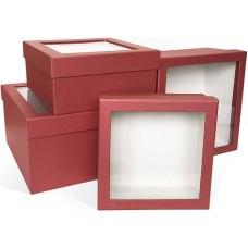 Набор коробок Прозрачное окно, Тиснение вельвет, Красный, 23*23*13 см, 4 шт.