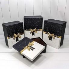 Набор коробок, Wonderful (золотой бант), Черный/Белый, 40*29*17 см, 4 шт.