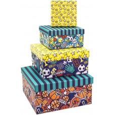 Набор коробок Спортивный микс, Ассорти, 22*22*11 см, 4 шт.