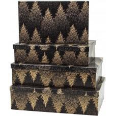 Набор коробок Зимний лес, Черный, 30*20*8 см, 4 шт.