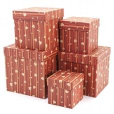 Набор коробок, Куб, Сердца и полоски, Красный, 17*17*17 см, 5 шт.
