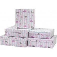 Набор коробок, Маленькие принцессы, Розовый, 30*30*10 см, 5 шт.