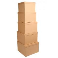 Набор коробок, Крафт, 30*30*20 см, 5 шт.