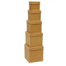 Набор коробок, Куб, Крафт, 17*17*17 см, 5 шт.