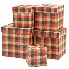 Набор коробок Куб, Стильные клетки, Красный, 17*17*17 см, 5 шт.