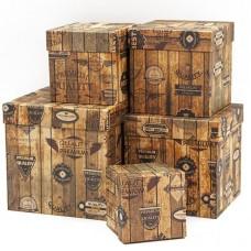 Набор коробок, Куб, Винтажный ящик, Коричневый, 17*17*17 см, 5 шт.
