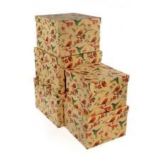 Набор коробок Птицы среди цветов, Крафт, 30*30*20 см, 5 шт.