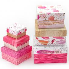 Набор коробок Ассорти дизайнов, Розовый, 18*18*10 см, 6 шт.