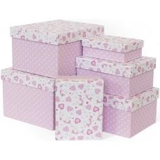 Набор коробок Нежные единороги, Розовый, 25*21*15 см, 6 шт.