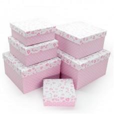 Набор коробок Нежные единороги, Розовый, 25*25*15 см, 6 шт.