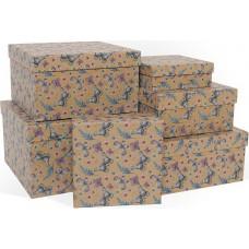 Набор коробок Воздушные бабочки, Крафт, 25*25*15 см, 6 шт.
