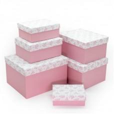Набор коробок Нежные цветы, Розовый, 25*21*15 см, 6 шт.