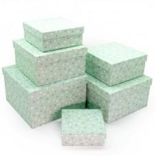 Набор коробок Звездное конфетти, Мятный, 25*25*15 см, 6 шт.