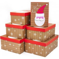 Набор коробок Дед Мороз, Крафт, с блестками, 30*22*12 см, 6 шт.