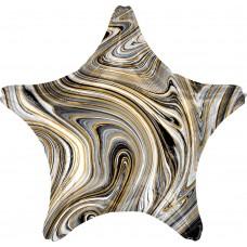 Шар (18''/46 см) Звезда, Мрамор, Золотая нить, Черный, Агат, 1 шт.