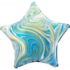 Шар (18''/46 см) Звезда, Мрамор, Золотая нить, Голубой, Агат, 1 шт.