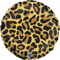 Шар (18''/46 см) Круг, Анималистика, Пятнистый окрас, Леопард, 1 шт.