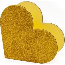 Декоративный ящик Сердце, Золото, с блестками, 20*10*19 см, 1 шт.
