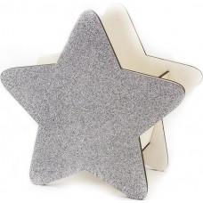 Декоративный ящик Звезда, Серебро, с блестками, 25*12*24 см, 1 шт.