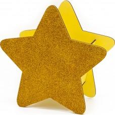 Декоративный ящик Звезда, Золото, с блестками, 25*12*24 см, 1 шт.