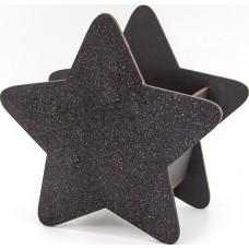 Декоративный ящик Звезда, Черный, с блестками, 25*12*24 см, 1 шт.