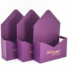 Набор коробок Конверт, От Всего Сердца, Лиловый, 35*23*8 см, 3 шт.