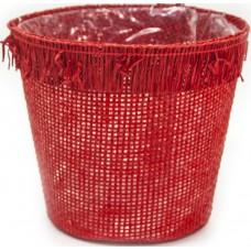 Кашпо Бумажная сетка, Красный, 14*14*12 см, 1 шт.