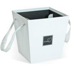 Коробка для цветов Трапеция, Белый, 17*17*18 см, 1 шт.
