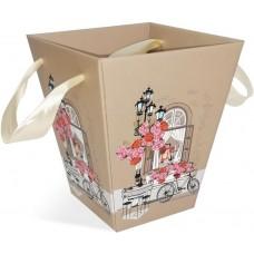 Коробка для цветов Трапеция, Итальянская фреска, Бежевый, 17*17*20 см, 1 шт.