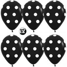 Шар (12''/30 см) Белые точки, Черный (080), пастель, 5 ст, 50 шт.