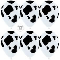 Шар (12''/30 см) Анималистика, Пятнистый окрас, Корова, Белый (005), пастель, 5 ст, 50 шт.