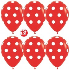 Шар (12''/30 см) Белые точки, Красный (015), пастель, 5 ст, 12 шт.