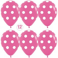 Шар (12''/30 см) Белые точки, Фуше (012), пастель, 5 ст, 50 шт.