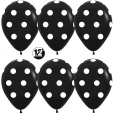Шар (12''/30 см) Белые точки, Черный (080), пастель, 5 ст, 12 шт.