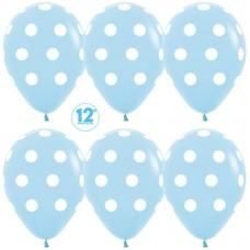 Шар (12''/30 см) Белые точки, Голубой (040), пастель, 5 ст, 12 шт.