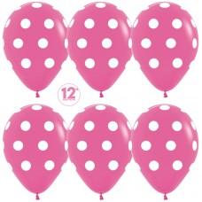 Шар (12''/30 см) Белые точки, Фуше (012), пастель, 5 ст, 25 шт.
