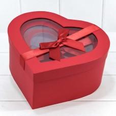 Набор коробок Сердце, Атласный бант, Красный, 26*25*12 см, 3 шт.