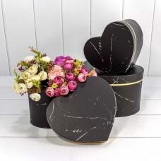 Набор коробок Сердце, Мрамор, Черный, 24*21*16 см, 3 шт.