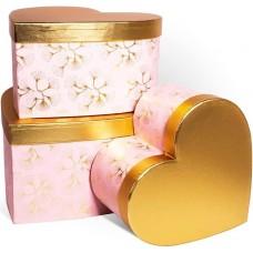 Набор коробок Сердце, Нежные цветы, Розовый/Золото, Металлик, 29*28*16 см, 3 шт.