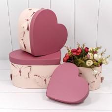 Набор коробок Сердце, Бабочки, Розовый, 28*26*15 см, 3 шт.